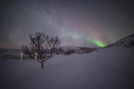 Soft display of aurora borealis, at Skarsfjord, near Tromsø, Norway.
