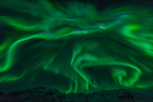 Spectacular display of northern lights near Tromsø, Norway. Taken on a northern lights tour with The Green Adventure.