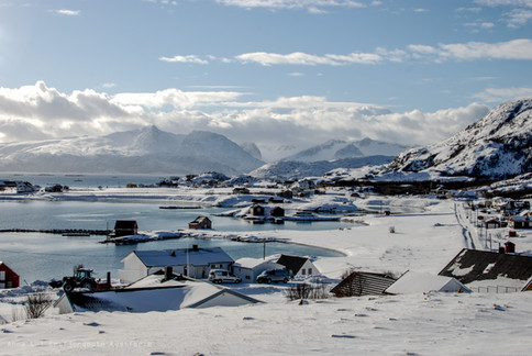 Sommarøy village in the wintertime - visited on Discover the Fjords of Kvaløya tour with The Green Adventure in Tromsø.