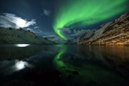Northern Lights over Ersfjord - at Ersfjordbotn near Tromsø.