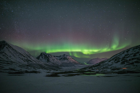 A display of northern lights near Tromsø, Norway. Taken on a northern lights tour with The Green Adventure.