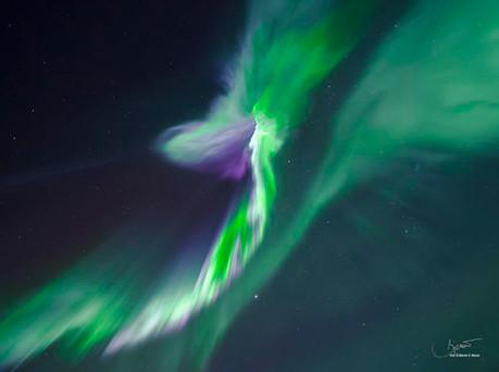 Aurora Corona - a corona shape of the northern lights. Aurora Borealis in Tromsø.