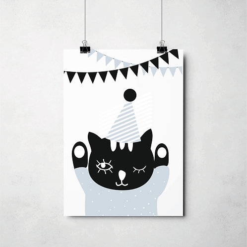 party cat blue // Poster