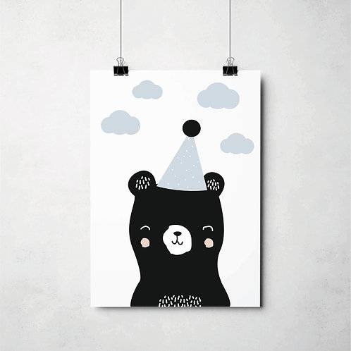 hat bear blue // Poster
