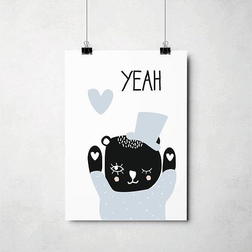 YEAH bear blue // Poster