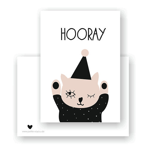 HOORAY hat cat  // Postkarte