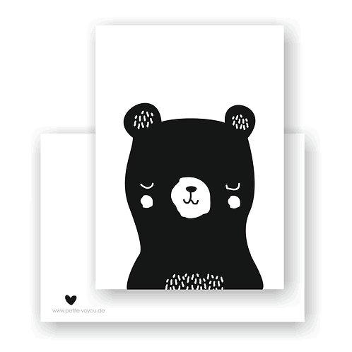 black sleepy bear // Postkarte