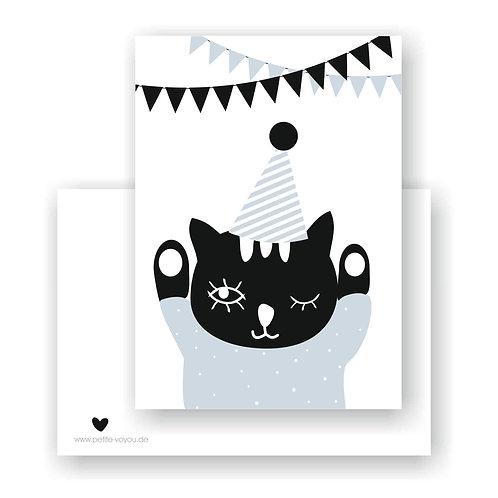 party cat blue  // Postkarte