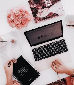 desk, flatlay, macbook, mac, diary, goals, hard work