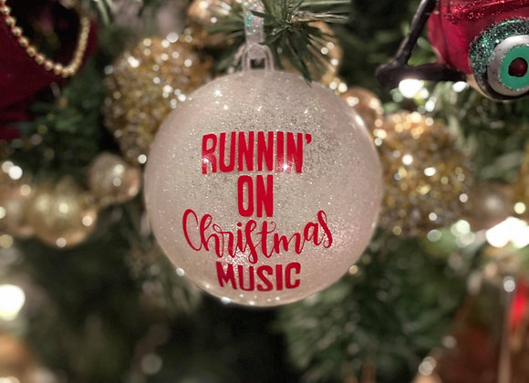 """Runnin' on Christmas Music"" Ornament with Dani-elle Logo"