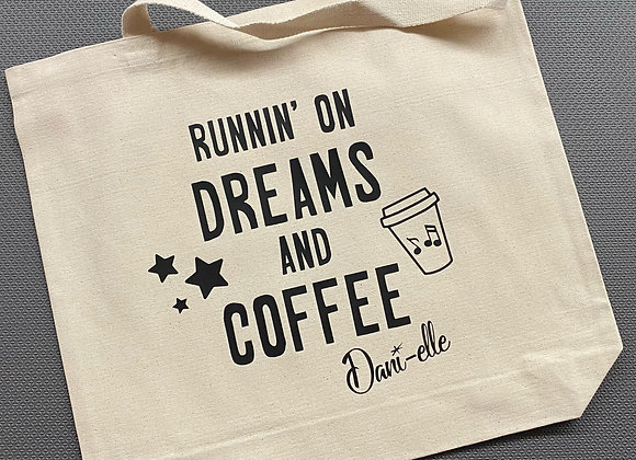 "15"" x 18"" 'Runnin' on Dreams and Coffee' Canvas Bag"