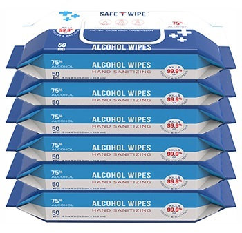 Alcohol Wet Wipe 6 pack - 50 wipes per pack - select quantity