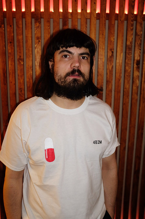 White T-Shirt, Black Text+ Patch