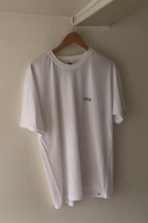 White T-Shirt, Green Text+ Patch