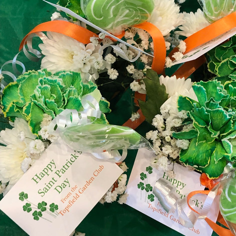 St. Patrick's Day Meals on Wheels mini bouquets
