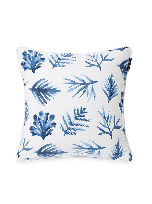 Lexington BLUE PRINTED LEAVES COTTON TWILL PILLOW COVER