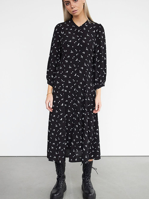 STYLESTORE Nancy Midi Dress 3/4 Sleeve Blackwhite Flower Aop