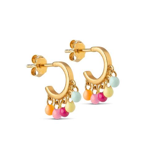 Enamel Rainbow Hoops Earring
