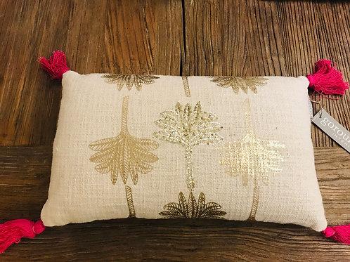 Kissen beige Palmen gold
