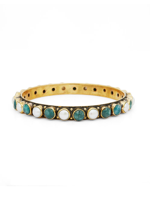 Miss Mathiesen Norway Bang me Bangles Pearl and Green oval