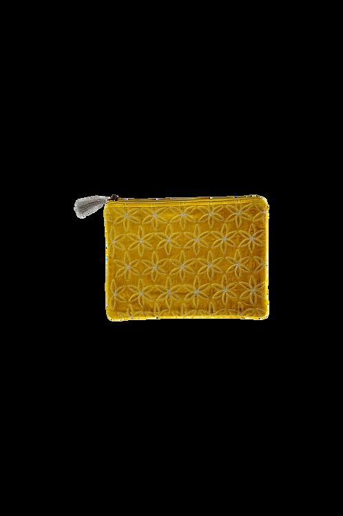 Amber velvet Pouch yellow