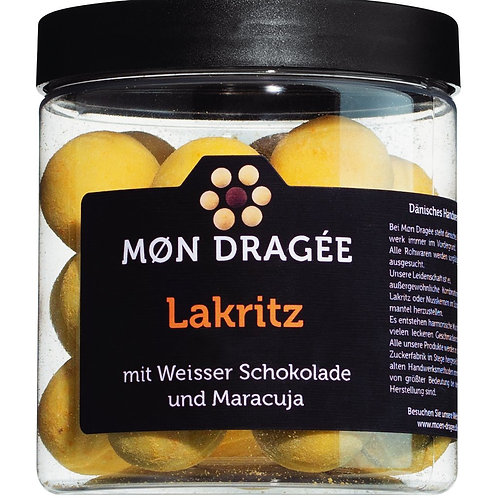 Liquorice with white chocolate and passion fruit MØN DRAGÉE, DÄNEMARK  Lakritzdr
