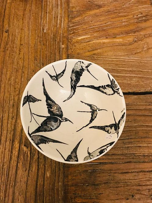 Schale kleine Vögel schwarz
