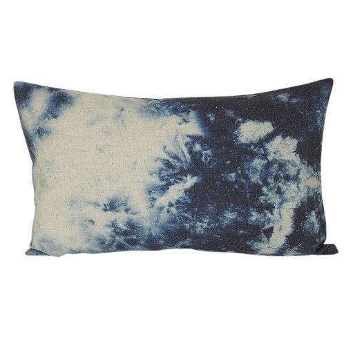 Kissen Batik blau/weiss
