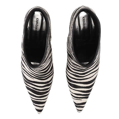 Custommade AEJA ZEBRA LOW POINTY BOOTS