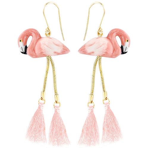 Nach Flamingo Earrings mit Pompom