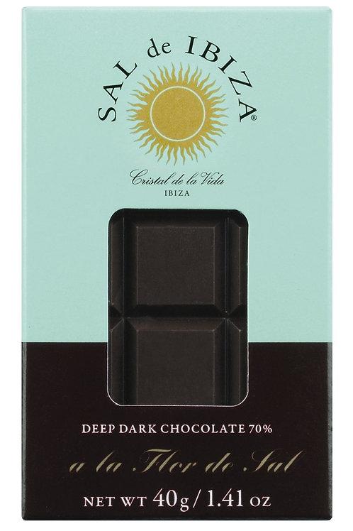 Zartbitterschokolade mit Flor de Sal SAL DE IBIZA, SPANIEN  Dunkle Schokolade 70