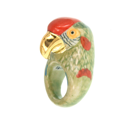 NACH Gold&Green Parrot Porcelain Ring medium