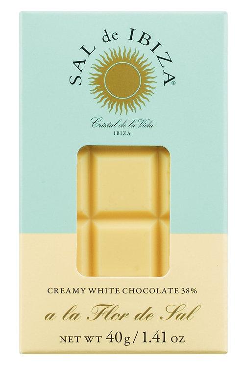 Weiße Schokolade mit Flor de Sal SAL DE IBIZA, SPANIEN  Weiße Schokolade 38% mit