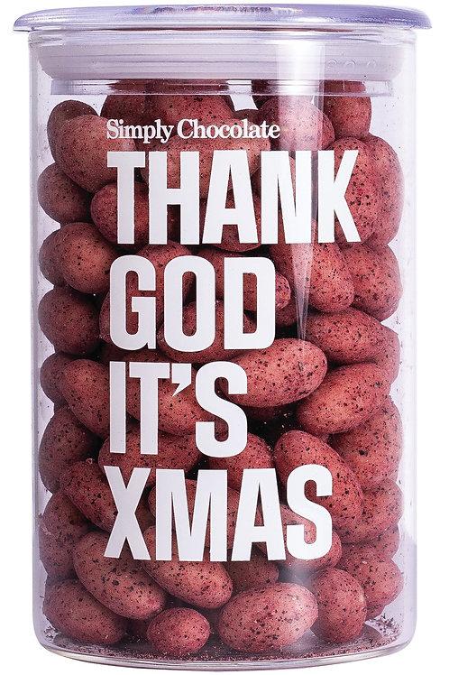Thank God it's Xmas Dragees SIMPLY CHOCOLATE, DÄNEMARK  Geröstete Mandeln unter