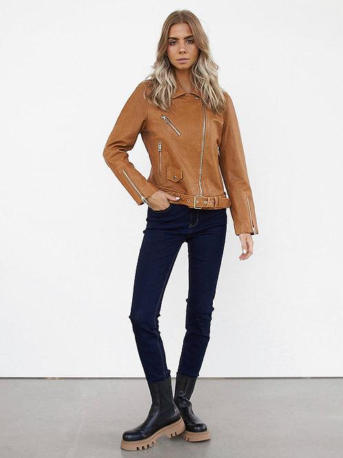 STYLESTORE Mayfair Real Leather Biker Jacket brown caramel