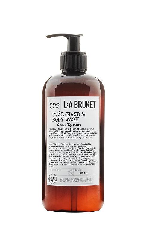 L:A Bruket 222 Hand & body wash, Spruce 450 ml