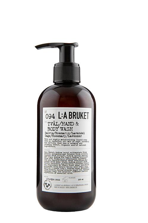 L:A Bruket 094 Hand & Body wash, Sage/Rosemary/Lavender, 250 ml
