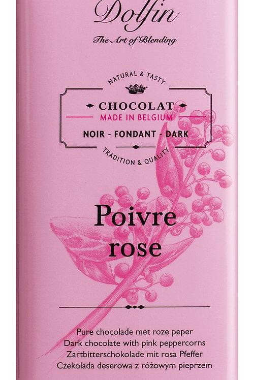 Zartbitterschokolade DOLFIN, BELGIEN  mit rosa Pfeffer