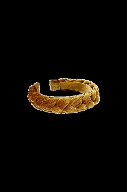 Braided velour headband mustard