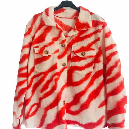 Jacke Hemd zebra Orangerot/weiss