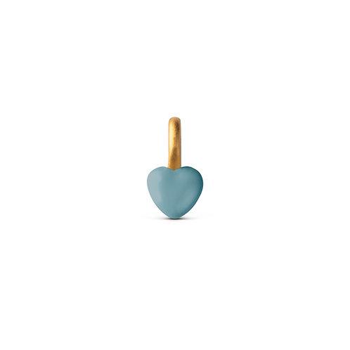 Enamel Charm Heart Dusty Turquoise