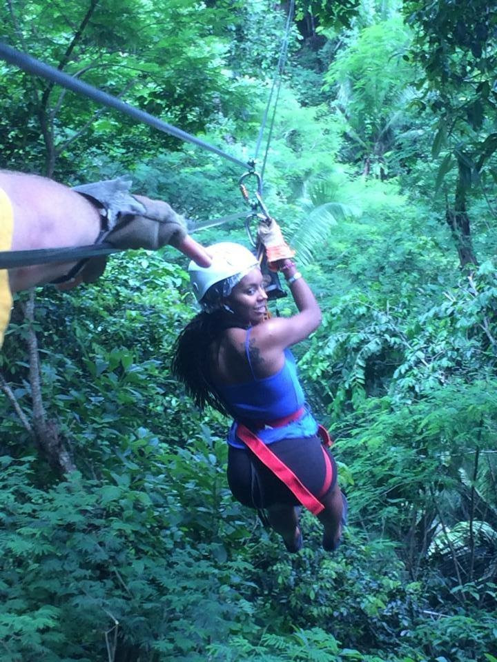 Zip-lining in the rain forest in Belize (2014)