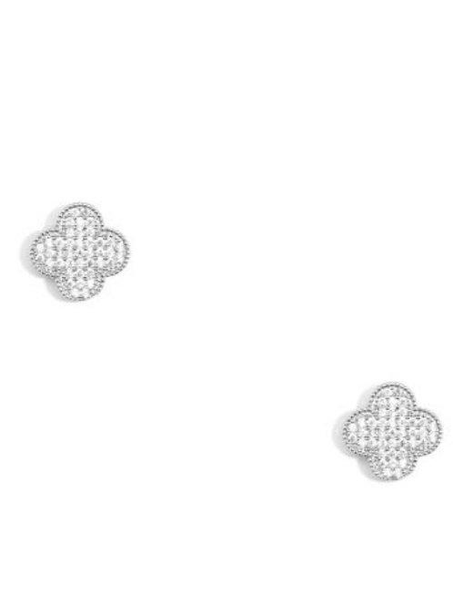 Crystal Stud Earrings- Silver