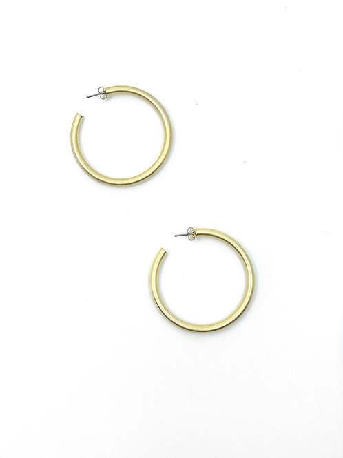 Matte Hoop Earrings- Gold