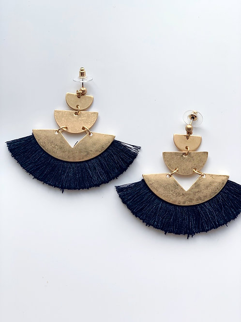 Elisha Tassel Earrings- Black
