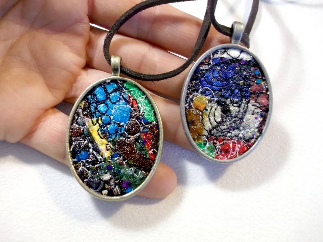 Fiber Gems - stitched pendants