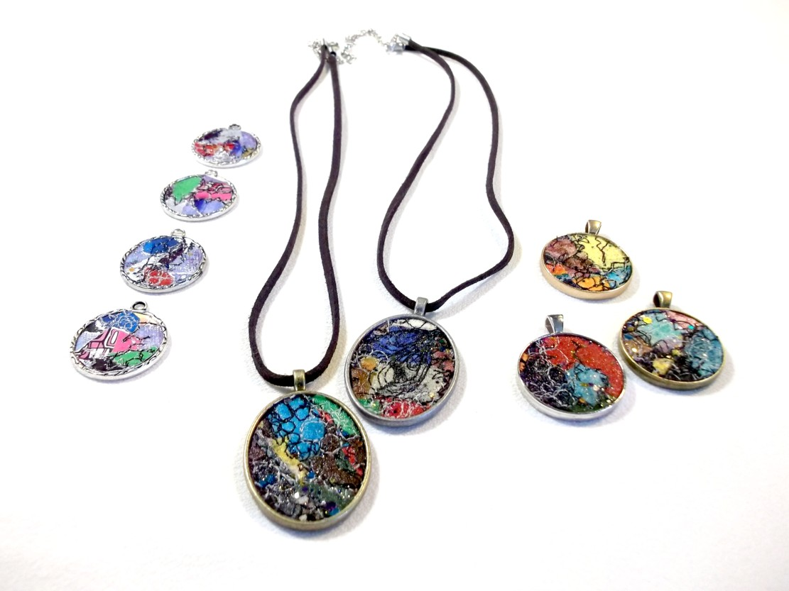 Fiber Gems - stitched pendants 9pc