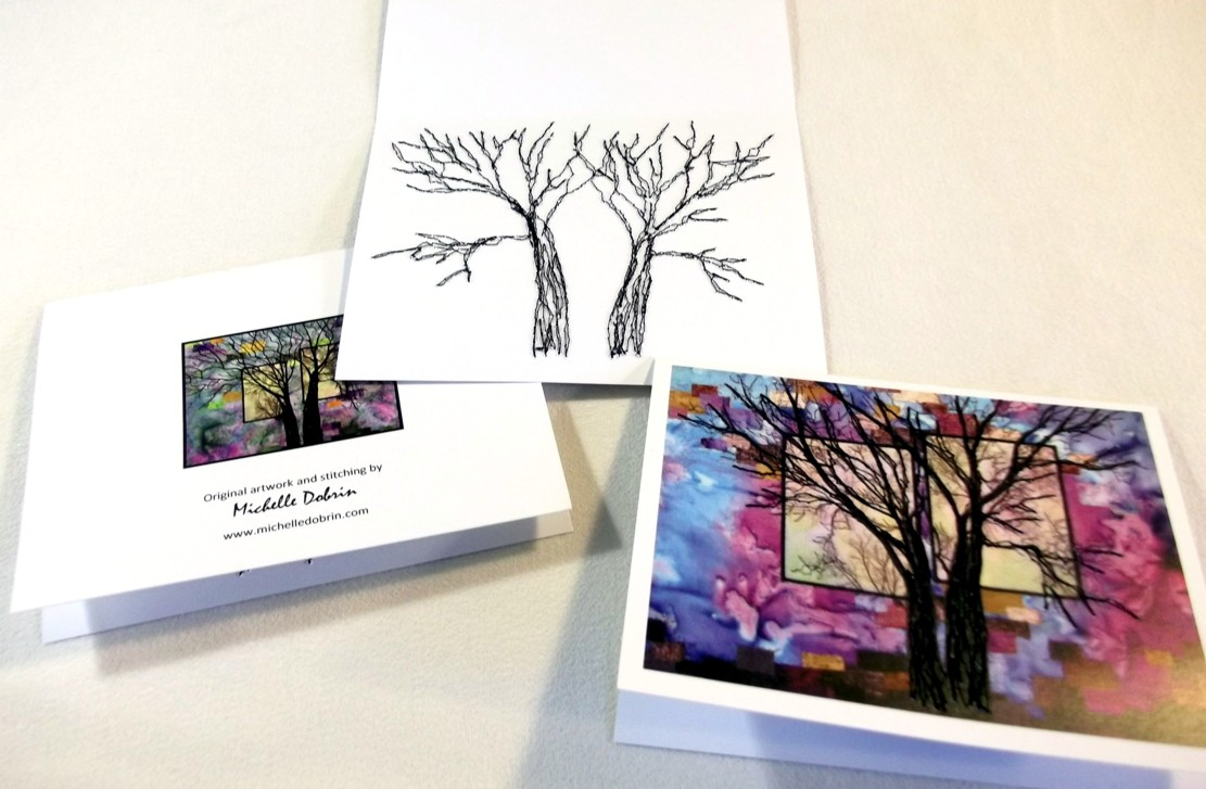Stitched cards - front and back