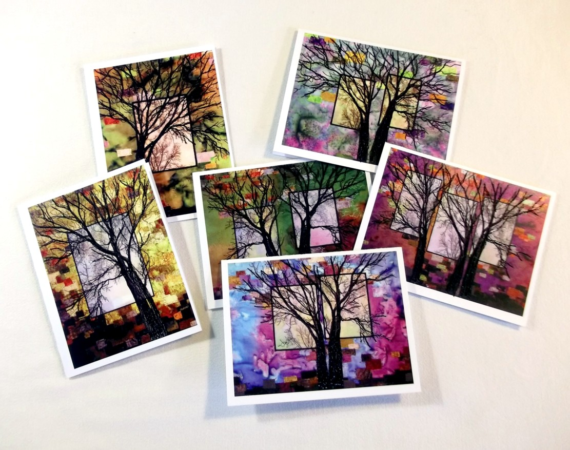 Stitched cards - OldeRiverside trees