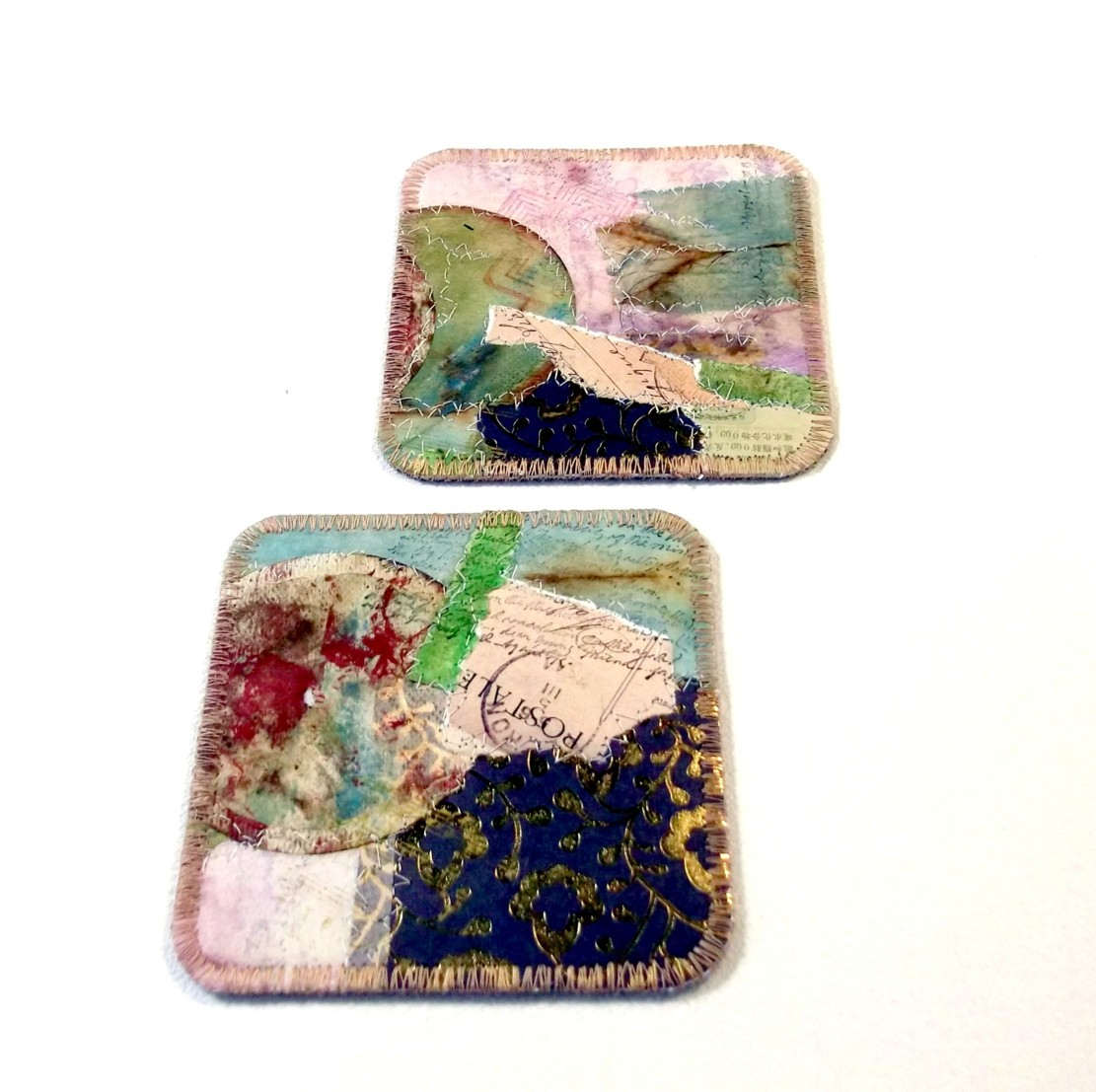 Mixed media stitched coasters